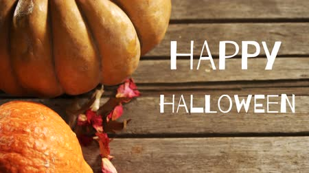 hallows : Animation of the words Happy Halloween written in white with a pumpkin, gourd and dried leaves on wooden boards in the background