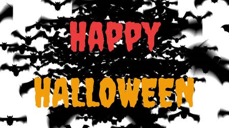 hallows : Animation of the words Happy Halloween written in red and orange with lots of black bats flying to the foreground, on a white background