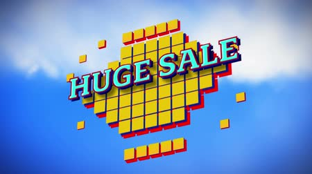 сокращение : Animation of the words Huge Sale in blue letters on yellow squares with blue sky in the background