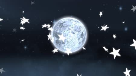 luna piena : Animation of falling stars and full moon on dark grey background