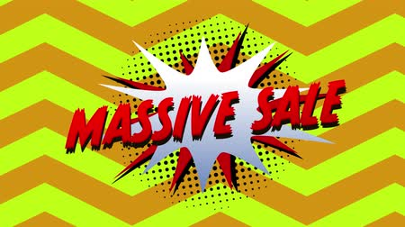 maciço : Animation of the words Massive Sale in red letters on a white explosion with zig zag in the background Stock Footage