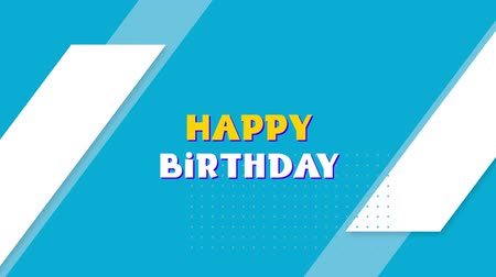 spare : Animation of the words Happy Birthday in yellow and white letters with blue balloons and white pattern on blue background