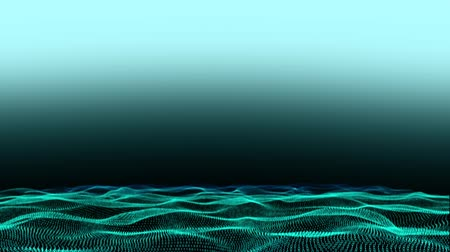 undulating : Animation of undulating electric green waves on a pale blue to black background Stock Footage