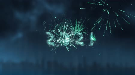 mille : Animation of number 2021 in sparkling letters with fireworks in the background