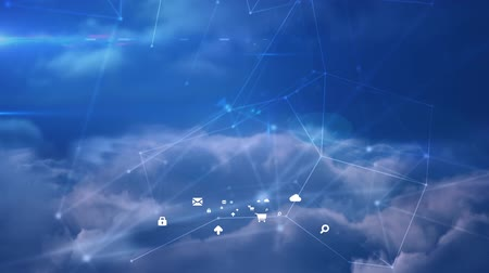levelezési : Animation of network of connections with white icons on blue sky with clouds