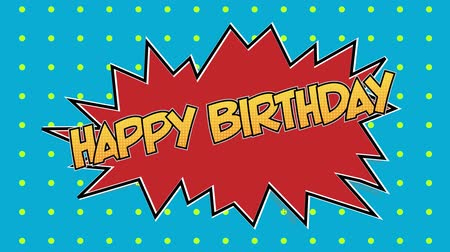 beszéd buborék : Animation of the words Happy Birthday in yellow letters on red speech bubble with dots on blue background Stock mozgókép