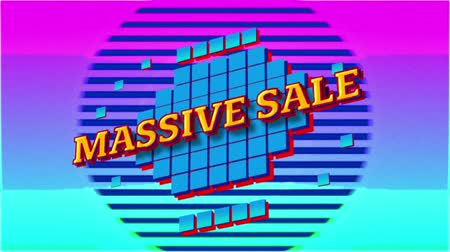 nineties : Animation of the words Massive Sale in yellow letters on blue squares and on blue background
