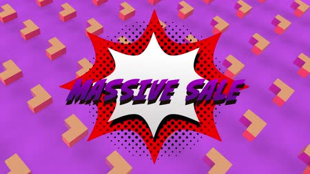 terms : Animation of the words Massive Sale in purple letters on a white explosion with abstract shapes on purple background Stock Footage