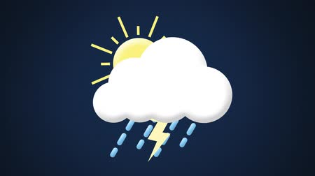 восклицание : Animation of a succession of weather symbols, followed by a yellow triangle warning sign with an exclamation mark, on a dark blue background