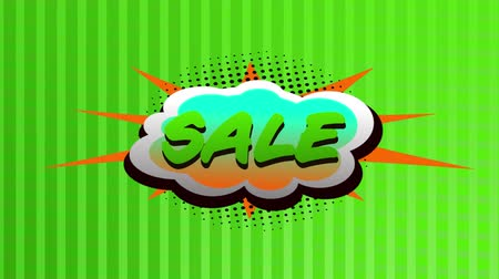 woorden : Animation of the word Sale in green letters on a green speech bubble with green striped background Stockvideo