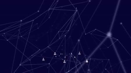 levelezési : Animation of network of connections with white icons and lines on dark blue background