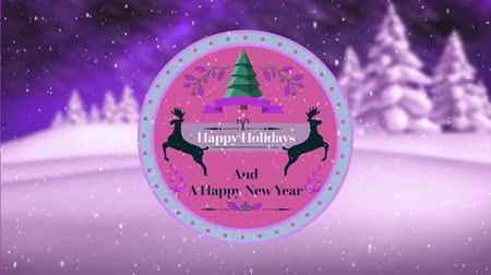 sob : Animation of the words Happy Holidays and A Happy New Year written on a round pink label decorated with reindeer and a Christmas tree, with falling snow and a countryside winter scene with a purple sky in the background