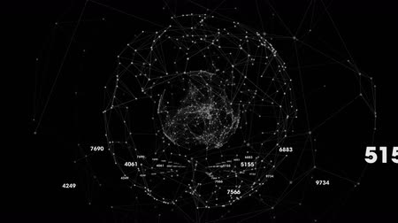 riferimento : Animation of a global network of connections with white icons, numbers and connecting lines on black background