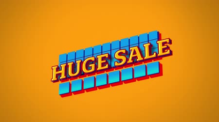 terms : Animation of the words Huge Sale in yellow letters on blue squares and on orange background Stock Footage