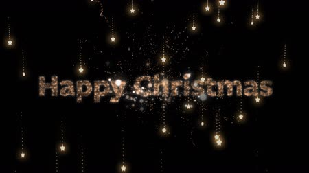 changing lights : Animation of the words Happy Christmas in sparkling letters with fireworks and glowing spots of light in the background Stock Footage