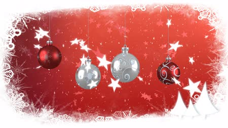 önemsiz şey : Animation of snow falling and Christmas decorations with baubles on red background