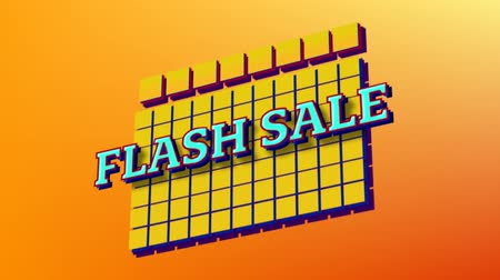 nineties : Huge Sale text appearing on orange background in retro eighties style with yellow blocks in blue text