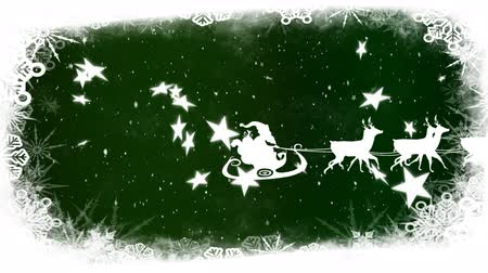 seasons changing : Animation of Santa Claus in sleigh being pulled by reindeers, snow falling, snowflakes and Christmas decorations on green background Stock Footage