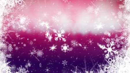 seasons changing : Animation of snow falling, snowflakes and Christmas decorations on pink background