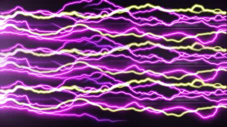 nineties : Animation of pink and yellow electric waves on a black background