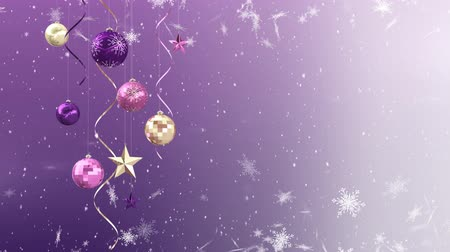 seasons changing : Animation of stars and snowflakes falling with Christmas baubles on purple background