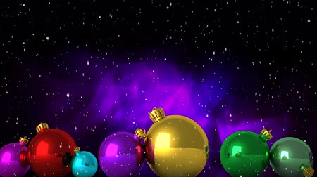 önemsiz şey : Animation of snowflakes falling with colourful Christmas baubles on glowing background Stok Video