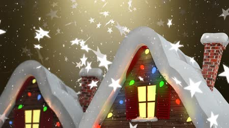 légköri : Animation of the winter scenery at night with houses, stars and snowflakes falling on gold background