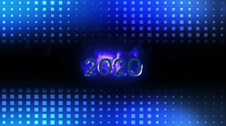 bin : Animation of the number 2020 in purple flaming numbers with glowing blue squares of light trails above and below on black background