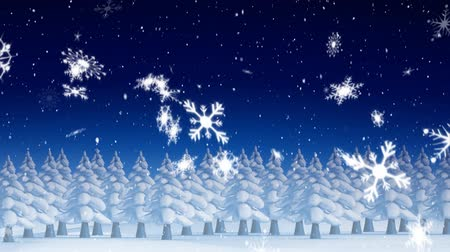 seasons changing : Animation of snowflakes falling with fir trees on blue background