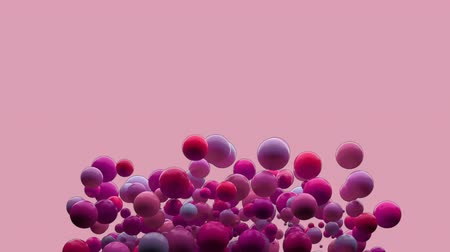 стручок : Animation of inflating bubbles in shades of pink and red appearing and disappearing on a pink background