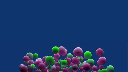bobbing : Animation of inflating bubbles in shades of pink and green appearing and disappearing on a blue background