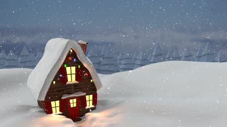 seasons changing : Animation of house, countryside and snow falling in winter