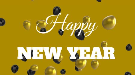 balões : Animation of the words Happy New Year written in white over gold and black balloons on gold background