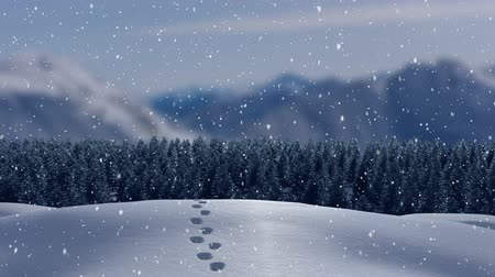 발자취 : Animation of fir trees, footprints, mountains and snow falling in countryside 무비클립