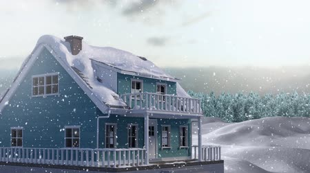 changing : Animation of house, countryside and snow falling in winter
