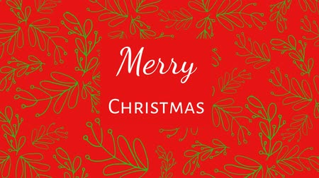 seasons changing : Animation of the words Merry Christmas written in white letters on red square over green mistletoe on red background Stock Footage