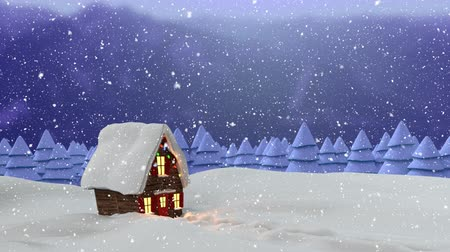 seasons changing : Animation of house, fir trees, countryside and snow falling in winter