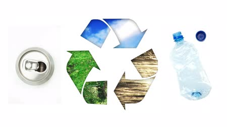 klíring : Animation of recycling sign with plastic bottle and tin can on white background