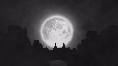 luna piena : Animation of night sky with full moon, cityscape and clouds of smoke