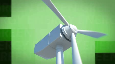 clareira : Animation of the words Green energy written in white and spinning wind turbine on green background Vídeos