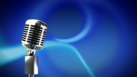 microphone : Animation of a retro silver microphone with moving blue light trails on blue background