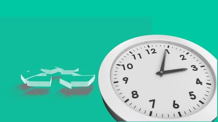 polana : Animation of recycling sign with clock ticking fast on green background Wideo