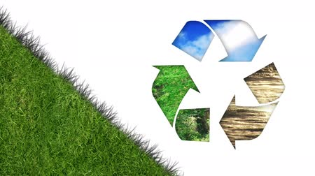 clareira : Animation of recycling sign with grass on white background