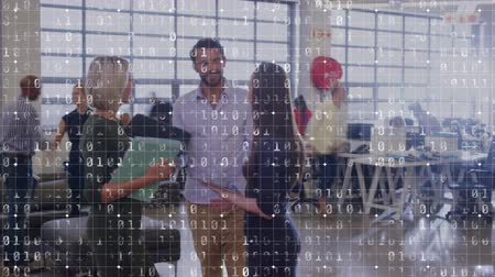 pace : Animation of young Caucasian male and two female professionals at a meeting in busy office in fast motion and binary coding in the foreground