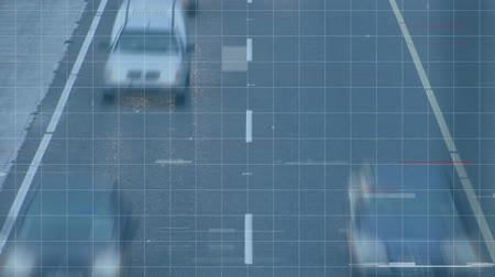 stopping : Animation of busy traffic passing on city street in fast motion with cars stopping and starting and white grid and squares in the foreground