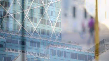 global iş : Animation of commuters walking with modern office buildings in the background
