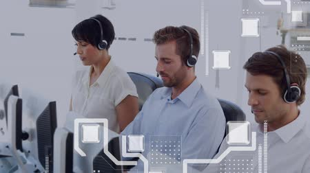 social change : Animation of moving network of connections with workers wearing headsets in a busy office in the background