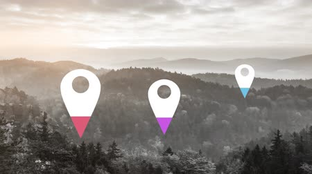wijzer : Animation of location pins filling up with purple, pink and blue color over landscape in the background