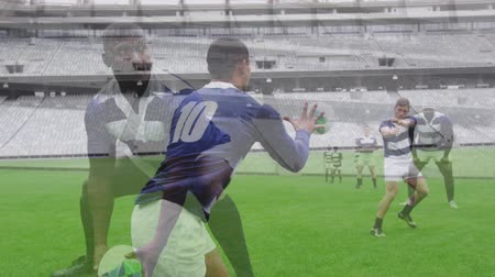 rugby ball : Animation of rugby players during a match at a stadium