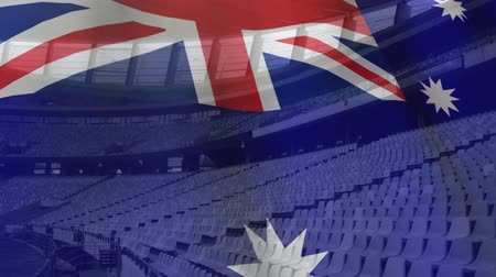 rúgbi : Animation of Australian flag waving over a sport stadium